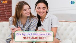 Đăng kí gói N3 Vietnamobile nhận ngay 3GB chỉ với 3.000đ